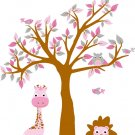 kids vinyl wall decal tree with owls birds lion giraffe