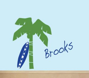 ON SALE kids palm tree and surfboard with childs name wall decal