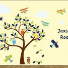 kids wall decal Tree with owls and Vintage AirPlanes set of 6 and 4 clouds and kids name