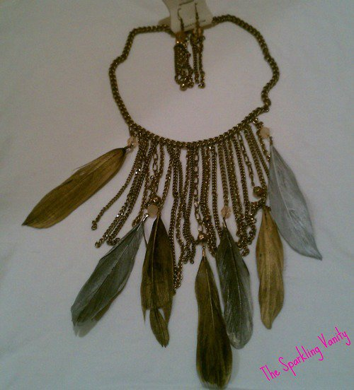 Tarnished Vintage Feather Necklace