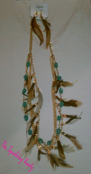 Feather and Turquoise Stone Necklace