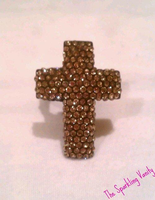 Brown Rhinestone Cross Ring