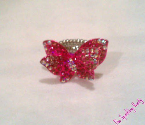 Mini Pink Butterfly Ring