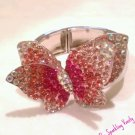 Pink Rhinestone Covered Butterfly Bracelet