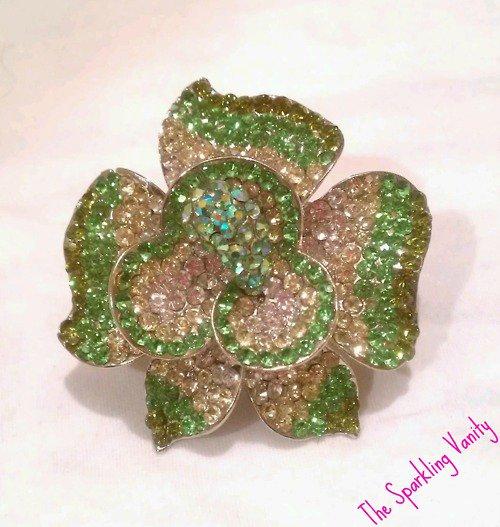 Green Rhinestone Flower Ring
