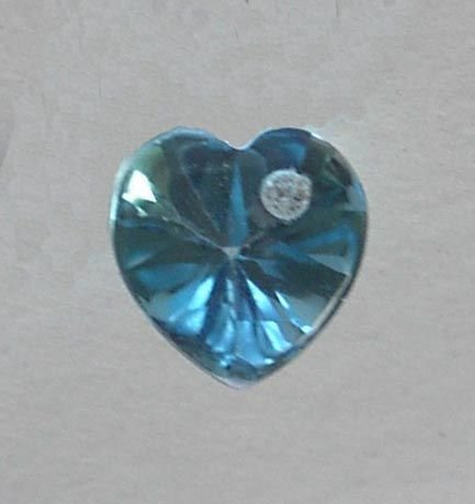 SWISS BLUE TOPAZ HEART with WHITE SAPPHIRE INSET - RARE COLLECTORS ITEM