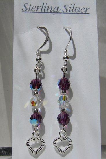 Sterling Silver Purple / Amethyst Crystal Earrings - E159