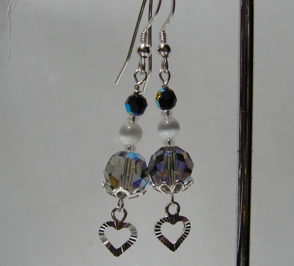 Sterling Silver Black Dangle Heart Earrings - BK109