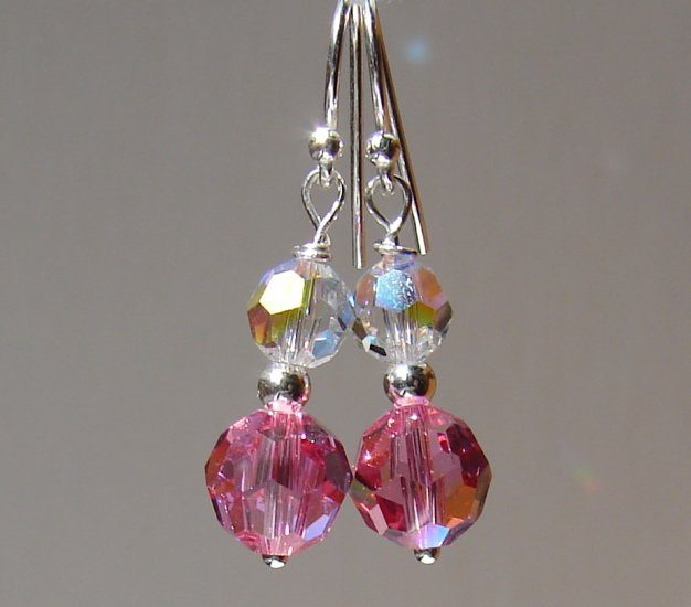 Sterling Silver Pink Crystal Earrings - P126