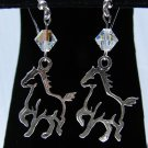 Sterling Silver Crystal Horse Earrings - E601