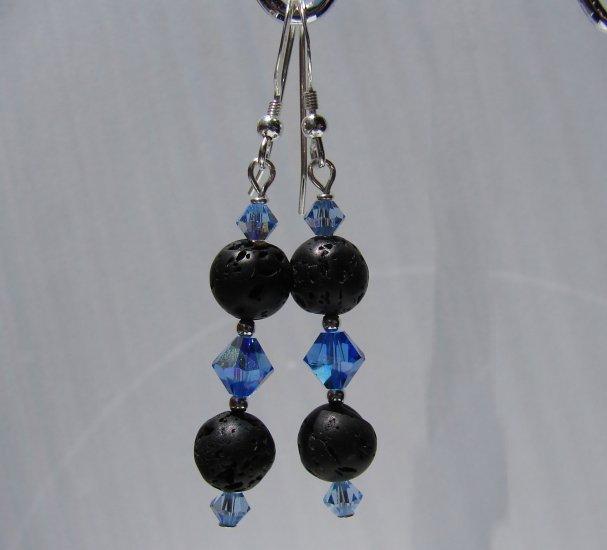 Unique Black Lava w/ Blue Crystals Sterling Silver Earrings - E173