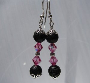 Unique Black Lava w/ Pink Crystals Sterling Silver Earrings - E172