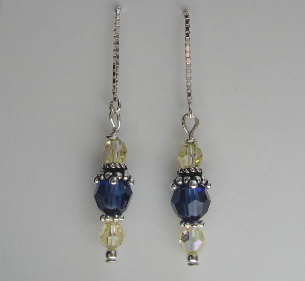 Sterling Silver Blue / Yellow Crystal Threader Earrings - E154