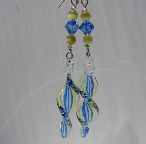 Sterling Silver Blue Yellow Lampwork Crystal Earrings