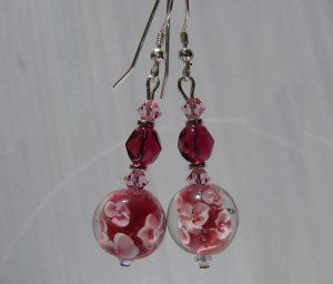 Sterling Silver Cranberry Red / Pink  Flower Glass Earrings - R139