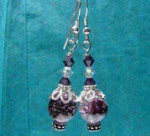 Sterling Silver Amethyst Glass Crackle Earrings - E170