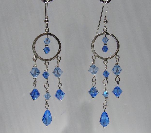 Sterling Silver Blue Crystal Chandelier Earrings - BL114