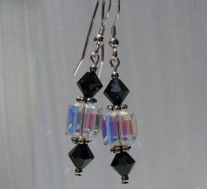 Sterling Silver Black Crystal Cube Earrings - BK108