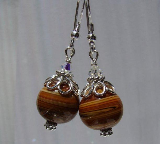 Sterling Silver Brown Lampwork / Crystal Earrings - E155