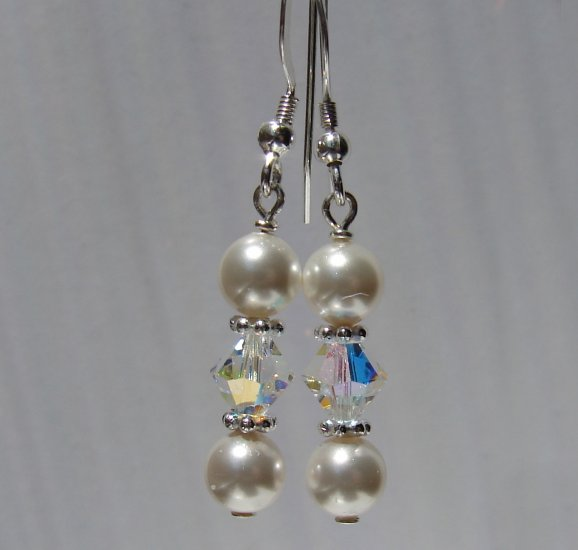 Sterling Silver White Pearl / Crystal Earrings - E157