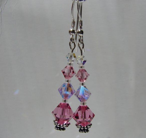 Sterling Silver Pink Crystal Dangle Earrings - P127