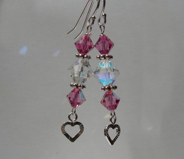 Sterling Silver Pink Crystal Heart Earrings - P129