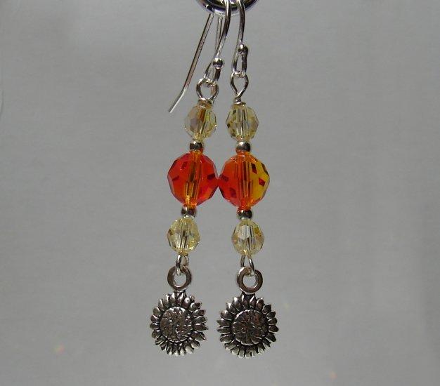 Sterling Silver Yellow / Orange Sun Flower Earrings - E163