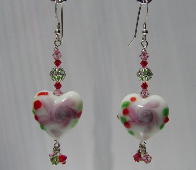 Red, Green, Pink Rose Lampwork , Sterling Silver Earrings -E122