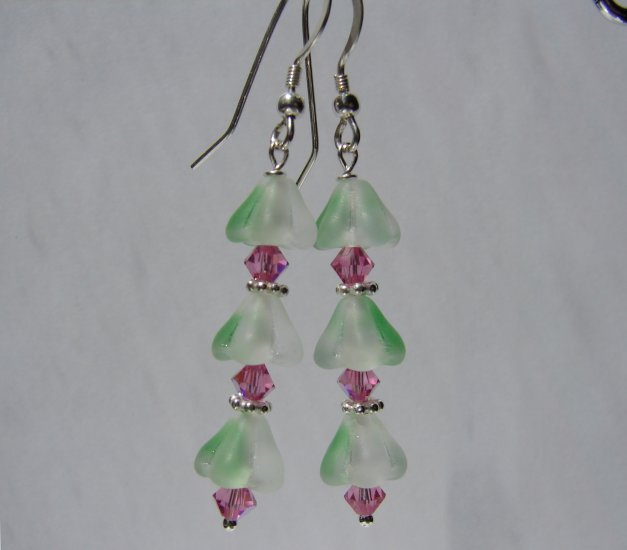 Green and Pink Crystal Sterling Silver Earrings - E150