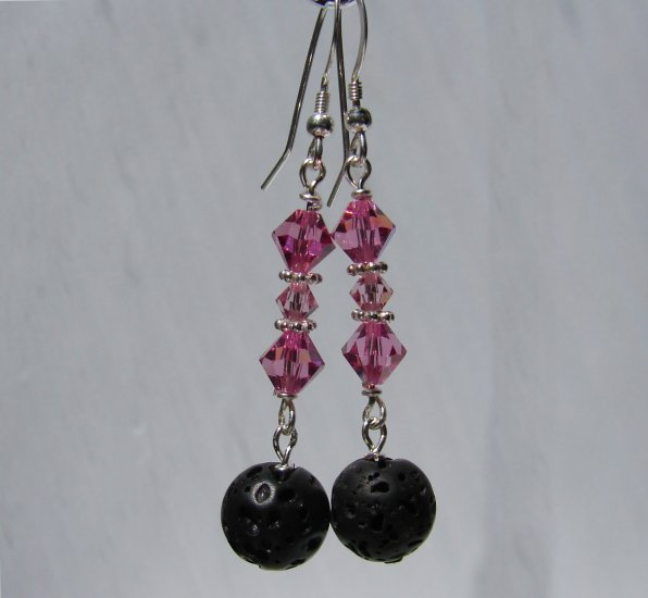Black LAVA w/ Pink Crystals Sterling Silver Earrings - E166