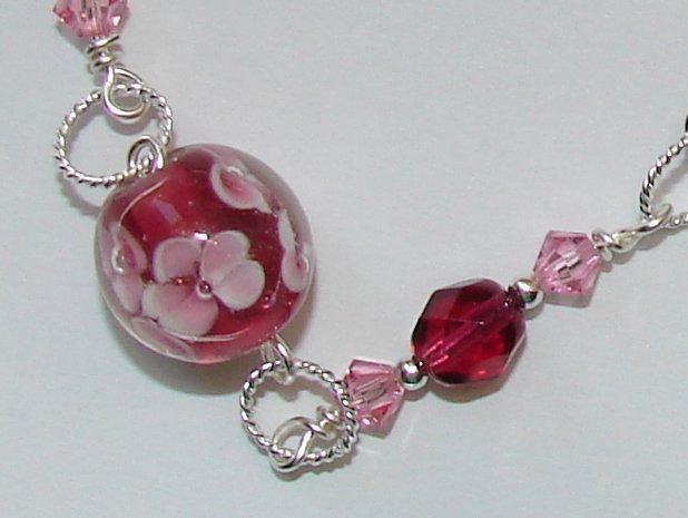Sterling Silver Cranberry Red / Pink Flower Glass Bracelet -B301