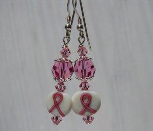 Pink Awareness Ribbon W/ Crystals Earrings - Ea12