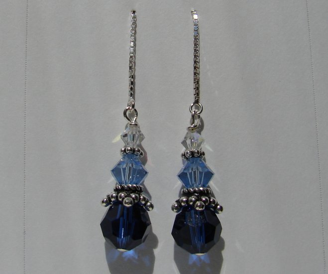 Shades of Blue Swarovski Crystal Thread Earrings - BL111