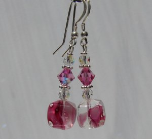 Cute Pink Cube Earrings w/ Crystals - E148