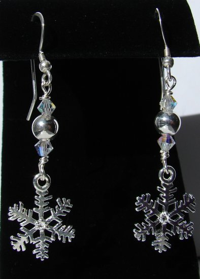 Christmas Silver Snowflake Earrings, Swarovski Crystals - C106