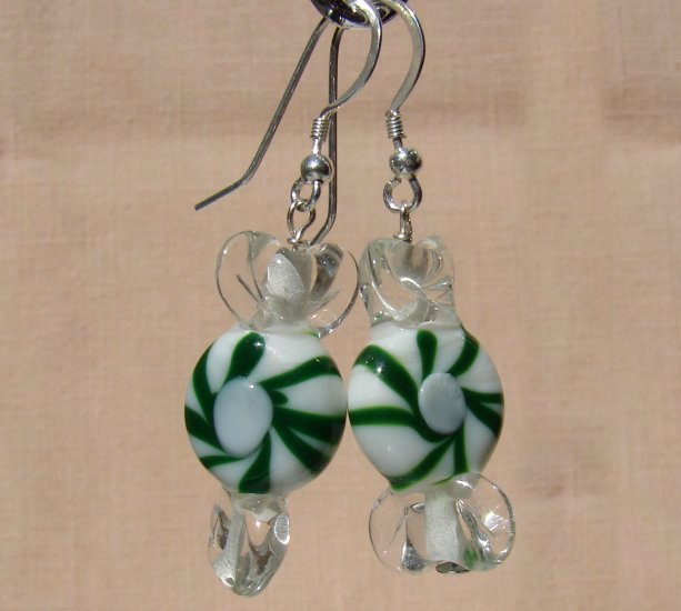 Christmas Holiday Green Lampwork Glass Candy Earrings - C103