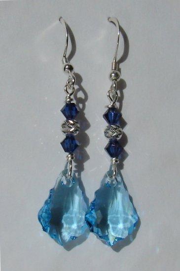 Sterling Silver Blue Baroque Crystal Earrings - BL146