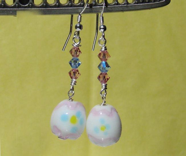 White Easter Egg Earrings w/ Swarovski Crystals -HE103