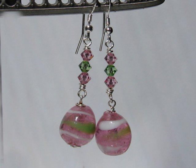 Pink Lampwork Easter Egg Earrings w/ Swarovski Crystals - HE104