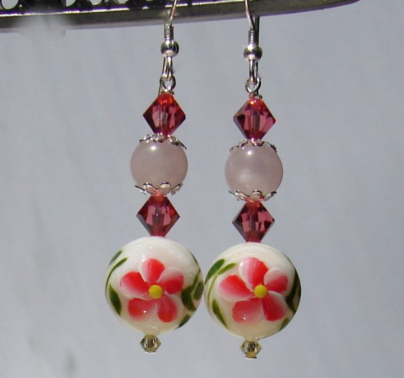 Handpainted Mother Of Pearl Pink Flower / Butterfly Earrings - P172