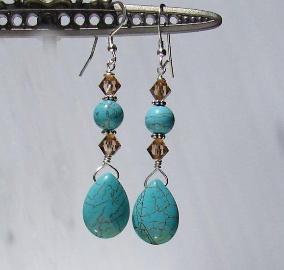 Teardrop Turquoise Earrings w/ Swarovski Crystals - BL165