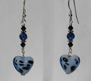 Blue Glass Dalamation Heart Earrings w/ Swarovski Crystals - BL164