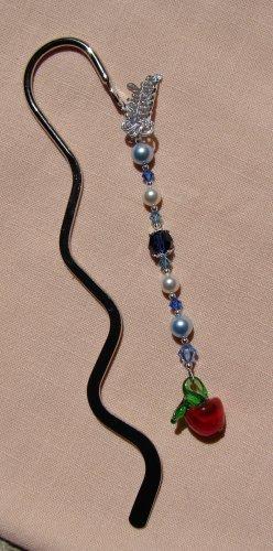 Teacher Gift / Blue Crystal Silver Teacher Bookmark - E177