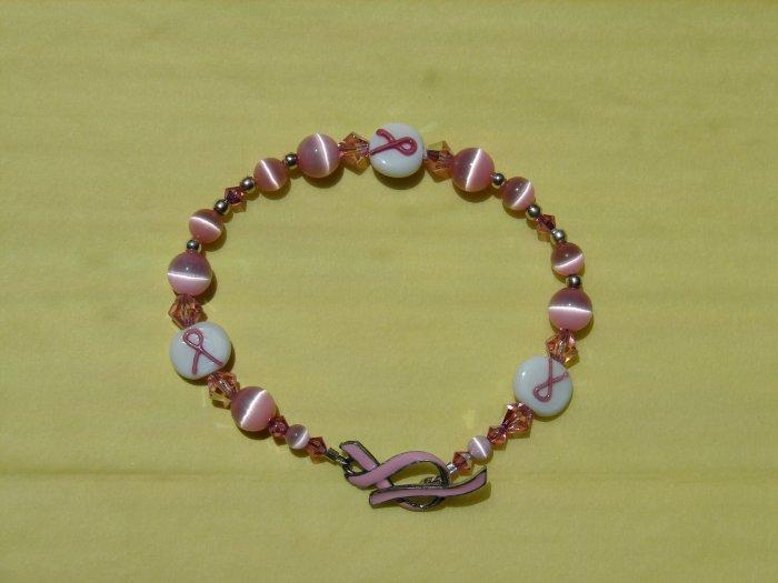 Pink Ribbon Bracelet w/ Cat's Eye Beads