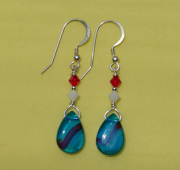 Red White and Blue Teardrop 4th of July Earring