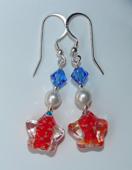 Glow in the Dark Red White and Blue 4th of July Earring