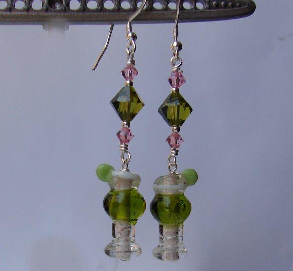 Lampwork Green Margarita Earrings  w/ Swarovski Crystals