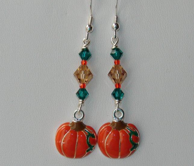 Silver Halloween Pumpkin Earrings w/ Swarovski Crystals Elements - E16