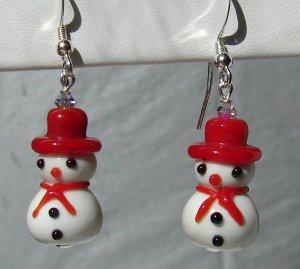 Christmas Lampwork Glass Red Snowman Earrings - H608