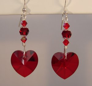 Red Crystal Heart Earrings with Swarovski Crystal Elements - H1001